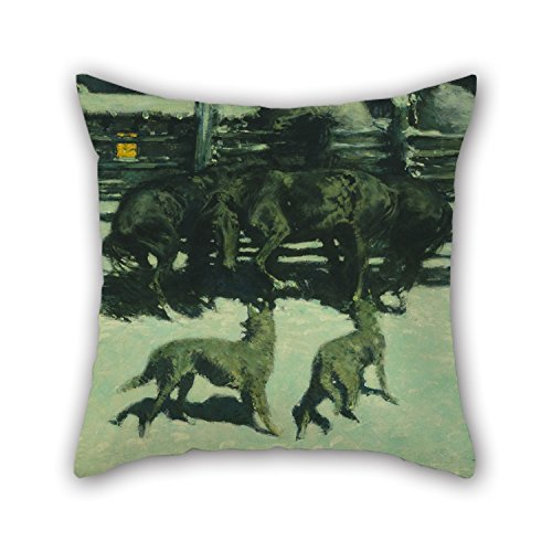 Oil Painting Frederic Remington - The Call For Help Cushion Cases 16 X 16 Inches / 40 By 40 Cm Gift Or Decor For Play Room Home Office Coffee House Him Boys Pub - Twice Sides