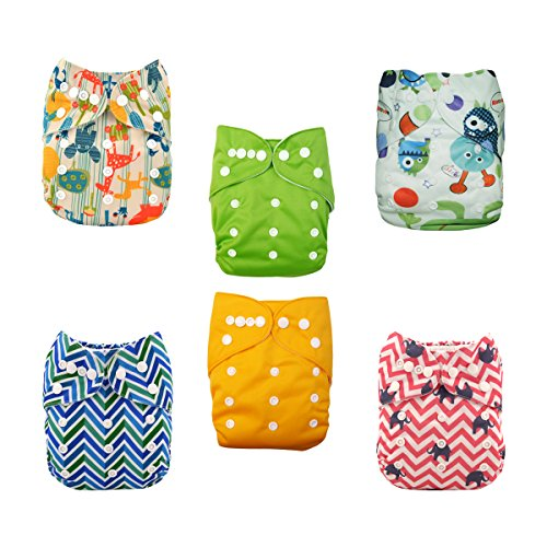 ALVABABY Cloth Diapers One Size Adjustable Washable Reusable for Baby Girls and Boys 6 Pack with 6 Inserts 6DP03