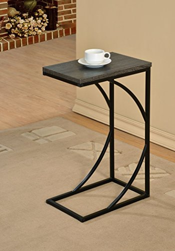 [Reclaimed Weathered Grey Finish Black Frame Snack Side Magazine End Table] (Magazine Display Finish)