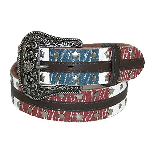 Dan Post Womens Leather American Flag Western Belt with Removable Buckle, Xlarge, (Cotton Genuine Belt)