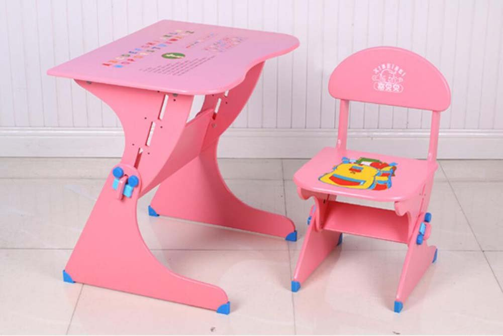 Portable Folding Chair Children's Study Table Chair Combination Set Solid Wood Liftable Primary School Students Desk Convenient and Practical (Color : Pink)