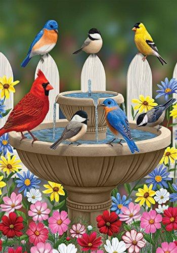 """Birdbath Gathering Spring Garden Flag Floral Birds 12.5"""" x 1"""
