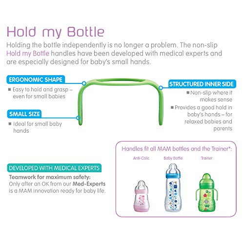 MAM Hold My Bottle Handles for Use with MAM Bottles and Trainer Bottle Pink//Blue