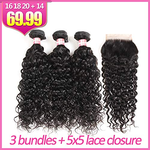 Yuling Brazilian Water Wave Bundles With Closure Wet And Wavy Human Hair Weave 3 Bundles With 5x5 Lace Closure 100% Unprocessed Virgin Remy Hair Extensions Free Part Natural Black Color(22 24 26 + 20) ()