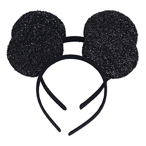 Set of 2 Mickey Minnie Mouse Ears Headband Boys Girls Birthday Party Mom Hairs Accessories Baby Shower Headwear Halloween Party Decorations Black Glitter Sequin Ears (Black Sequin) ()