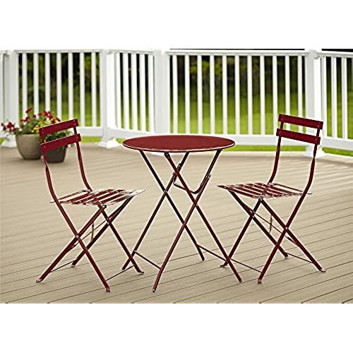 Cosco 3-Piece Folding Bistro-Style Patio Table and Chairs Set Red  sc 1 st  Amazon.com & Bistro Tables Sets: Amazon.com