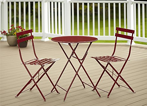 Cosco 3-Piece Folding Bistro-Style Patio Table and Chairs Set, Red Bistro Table Chair Set