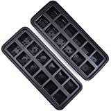 24 Cube Silicone Ice Cube Trays (2 Pack of 12 Ice Cubes Trays) Odor Free & No Aftertaste - Easy Release Soft Silicone Ice Molds - Perfect for Large or Small Ice Cubes
