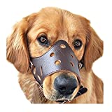 Biowow Adjustable Dog Muzzle Anti Bite Mouth Guard Covers Anti-called Muzzle Masks Pet Mouth Bite-proof Mask Brown