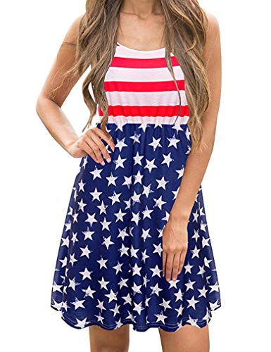 July 4th Dresses, Women's American Flag Dress - Patriotic USA Red White and Blue Dress Red,L