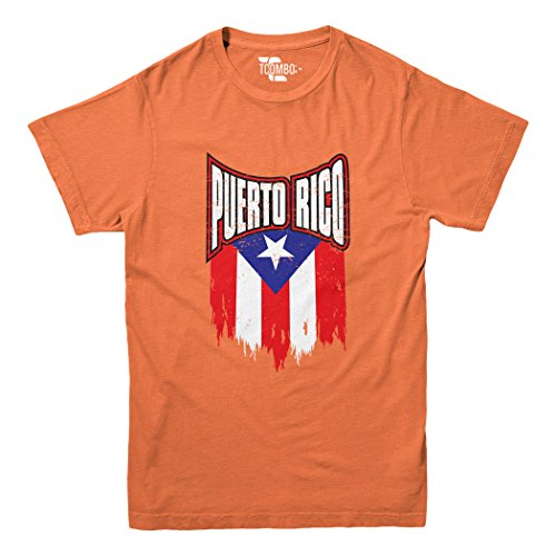 Puerto Rico with Flag Youth Big Kid T-Shirt (Orange, Small)