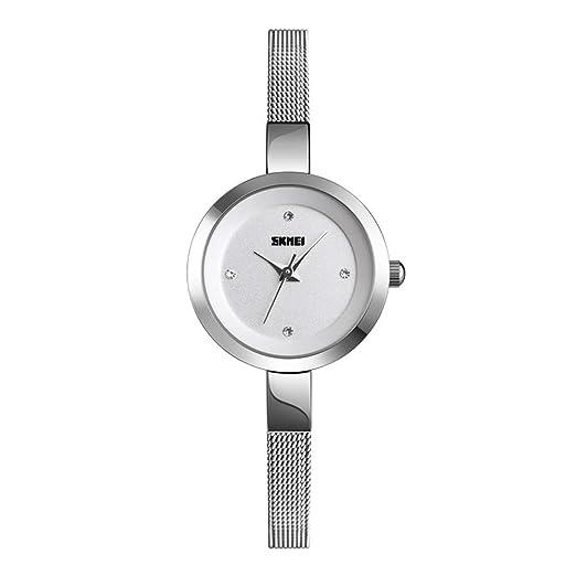 Relojes Pulsera Esfera pequeña Ultra-Fino Escala Rhinestone Relojes Mujer Correa de Malla de Acero Inoxidable Exquisite Minimalista