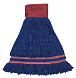 Industrial Laundry Style Antimicrobial Looped End Wet Mop - Blue 12 Pack