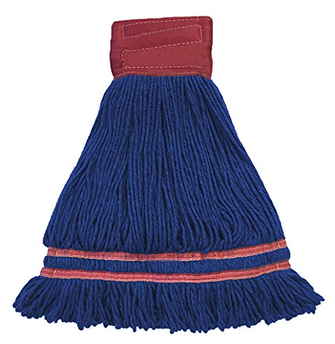 Industrial Laundry Style Antimicrobial Looped End Wet Mop - Blue 12 Pack by Direct Mop Sales, Inc.