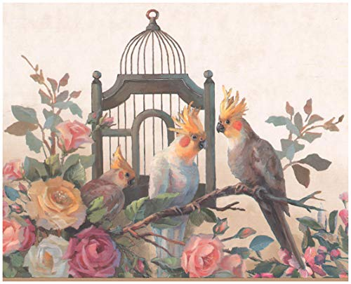 Prepasted Wallpaper Border - Parrots Cage Bloomed Yellow Pink White Roses Oriental Wall Border Retro Design, Roll 15 ft. x 9 in.