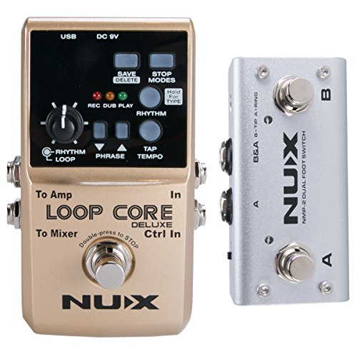 NUX Loop Core Deluxe Guitar Looper 8 hours Loop Time,24-bit Audio,Automatic Tempo Detection with Footswitch (Boss Rc 30 Dual Track Looper Loop Station)