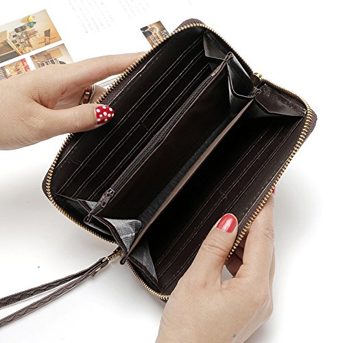 MaxFox Women Fashion Single Pull Rose Long Wallet Zipper Coin Purse Phone Bag Divider Organizer Storage Clutches (A) by MaxFox (Image #2)