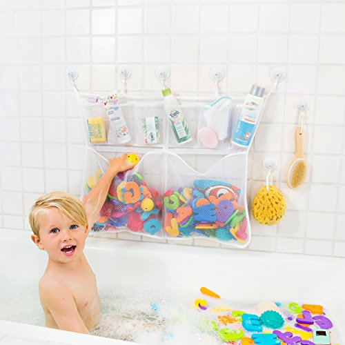 Bath Time Baby Playset (The Really Big Tub Cubby Bath Toy Organizer & Caddy – 6x Soap & Shampoo Pockets - Quick Dry Bathtub Storage Net - 6x Lock Tight Suction Hooks & 3M Stickers - Sure Not To Fall. )