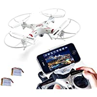 XGO outdoor toys Rc WiFi FPV Quadcopter Drone with HD Camera 4 Channel 2.4GHz 6-Gyro Headless APP control White,2 li-po battery Christmas G