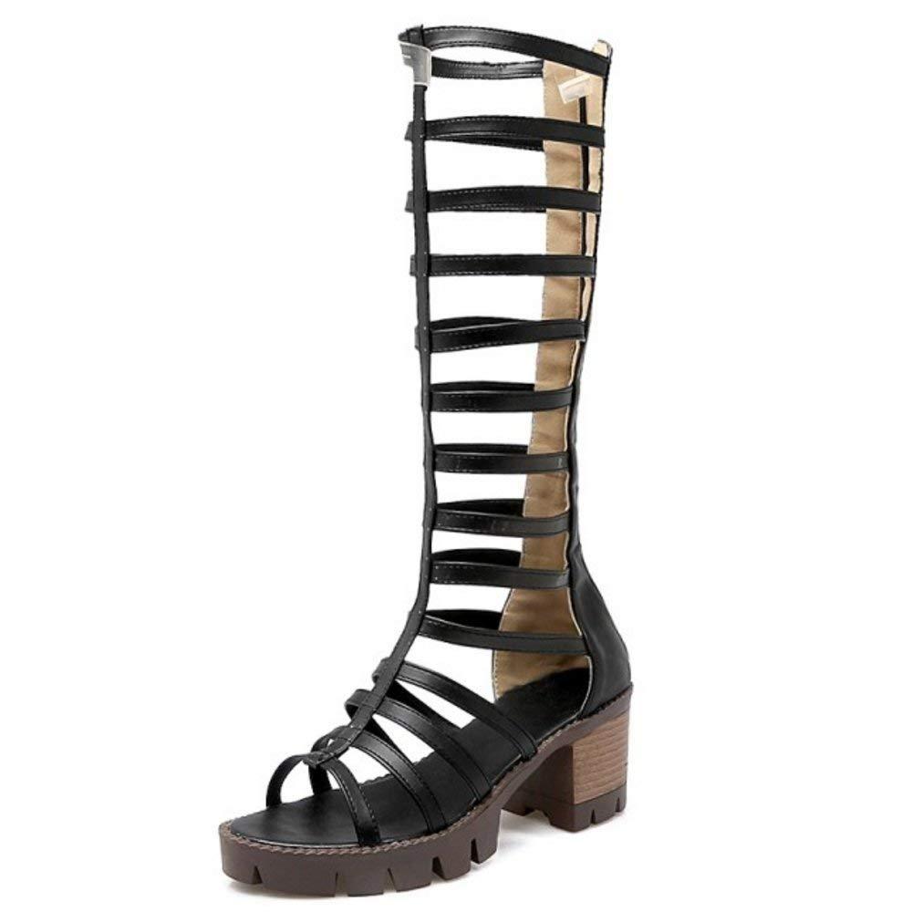 ZHRUI Damenmode Open Open Open Toe Sandalen Ausgeschnitten Block Ferse Schuhe mit Reißverschluss c3dde6