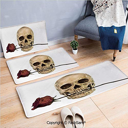 3 Piece Fashion Flannel Door Mat Carpet Skull with Dry Red Rose in Teeth Anatomy Death Eye Socket Jawbone Halloween Art Decorative for Door Rugs Living Room(W15.7xL23.6 by W19.6xL31.5 by -