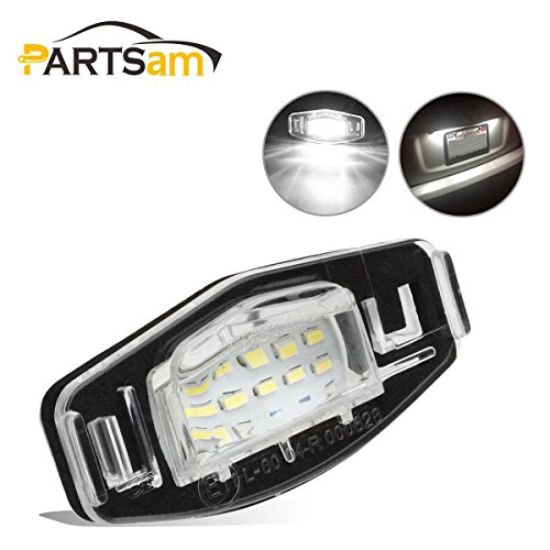 Partsam 2PCS 6000K White License Plate Light Assembly 12V 18-SMD LED Lamp Bulbs for Honda Civic Pilot Accord Odyssey Acura MDX RL TSX ILX RDX -