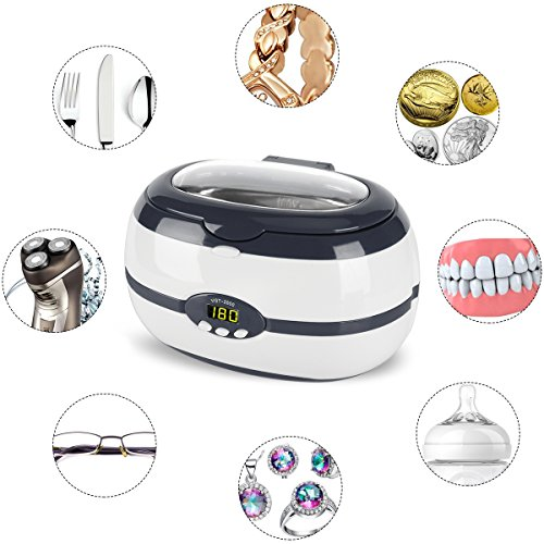 Jewelry Cleaner Ultrasonic cleaning Machine for Jewelry,Eyeglasses,Watches,Rings,Necklaces,Bracelets,anklets,Razors,Dentures,mouth guard,Toothbrush,mechanism Parts by Mikayoo(Gray,600ml)
