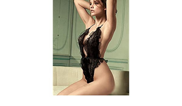 4364cca01 Sexy Lingerie Black lace Siamese Perspective Three Places Cute Suit Large  Size Fun Pajamas with a Gift,Keep fxxking Going Wristband at Amazon Women s  ...