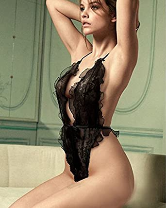 58814f985 Image Unavailable. Image not available for. Color  Sexy Lingerie Black lace  Siamese Perspective Three Places Cute Suit ...