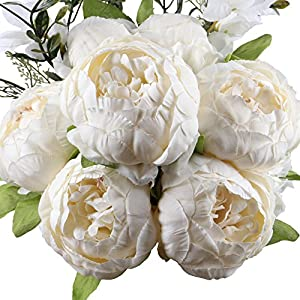 Leagel Fake Flowers Vintage Artificial Peony Silk Flowers Bouquet Wedding Home Decoration, Pack of 1 (Spring White) 24