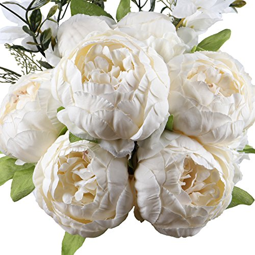 Leagel Fake Flowers Vintage Artificial Peony Silk Flowers Bouquet Wedding Home Decoration, Pack of 1 (Spring White) (Flowers Faux Hydrangea)