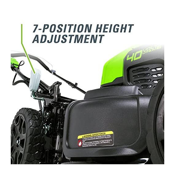 greenworks 40V 21 inch Brushless Dual PH Mower with Two 2.5AH Batteries and Charger, MO40L2512 6 Includes (2) 2.5 AH - 40V Lithium Batteries Durable 21'' Steel Deck lets you Mulch, Bag, or Side Discharge allowing you to maintain your yard the way you want it Our dual battery port design enables one battery to be stored while the other fuels the mower for uninterrupted cutting; saving a you a trip to the garage