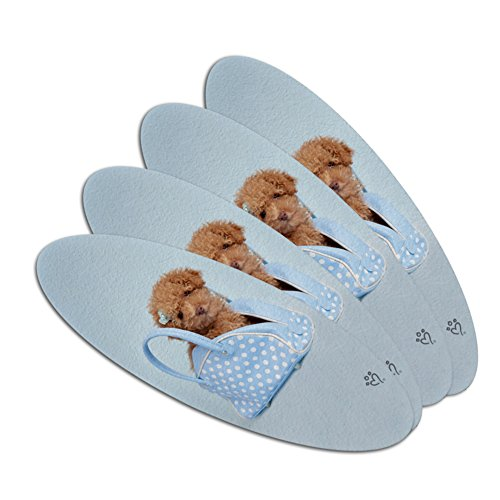 Poodle Puppy Dog Blue Spotted Handbag Double-Sided Oval Nail