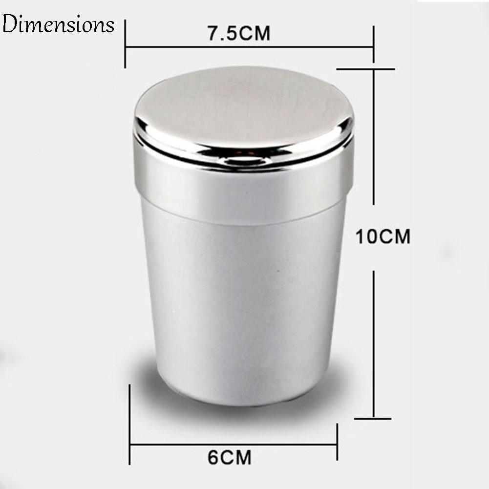 iiinsixde Auto LED Lampe Aluminiumlegierung Edelstahl Liner Aschenbecher