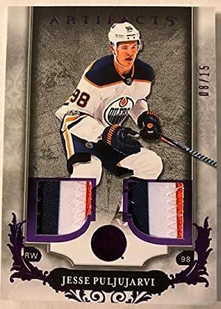 3d9d79d5e 2018-19 Upper Deck Artifacts Material Purple Jersey Patches Hockey  55 Jesse  Puljujarvi Jersey
