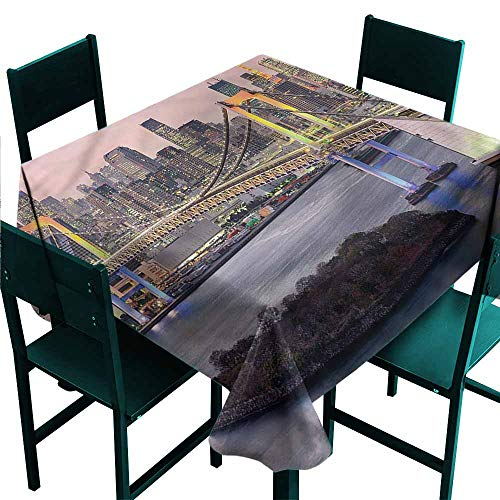 (DONEECKL Dust-Proof Tablecloth Cityscape Tokyo Japan Bridge Table Decoration W54 xL54)