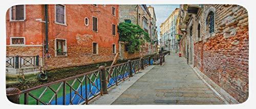 (Ambesonne Venice Kitchen Mat, Empty Idyllic Streets of Venezia Travel Destination Romantic Vacation Old Buildings, Plush Decorative Kithcen Mat with Non Slip Backing, 47
