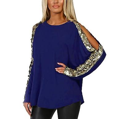 e755c8eeea53 Geilisungren Bluse Damen Herbst Casual Rundhalsausschnitt Langarm T Shirt  Frauen Sexy Aushöhlen Glitzer Pailletten Patchwork Pullover Bluse  Sweatshirt Loose ...