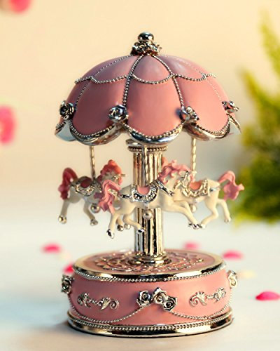 - HoneyGifts Laxury Carousel Music Box,Flower Design,Pink