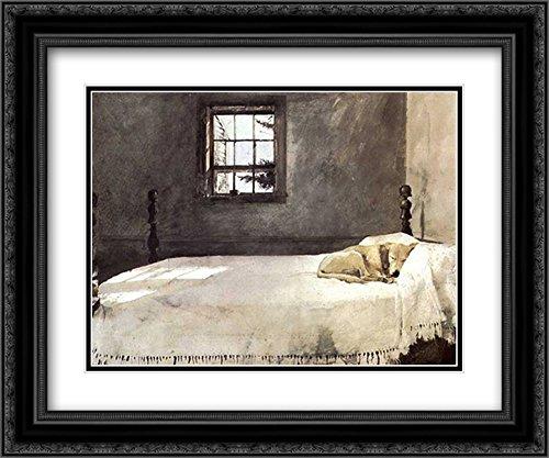 Master Bedroom, c.1965 2X Matted 23x20 Black Ornate Framed Art Print by Andrew Wyeth