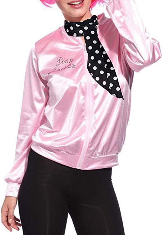 Giacca da Donna Rosa In Satin 50er anni Taglia XL-Pink Ladies
