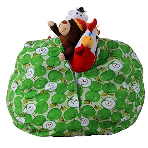Price comparison product image Bean Bag ,Vanvler Plush Toy [ Stuffed Animal Storage Chair ] Stuff 'n Sit -Available in 5 Patterns (G Green Apple)