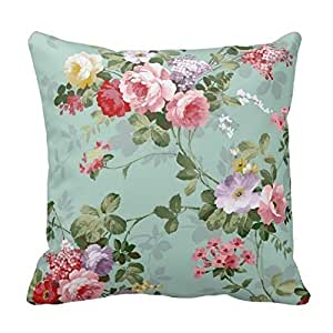 Home Decorative Cotton Standard Size 18inch Vintage Elegant Pink Red Roses Pattern Pillow