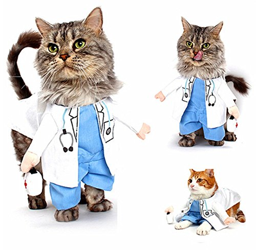 Cat Frankenstein Costume (Pet Doctor Dog Cat Costume Clothes Funny Cosplay Small Puppy Party)