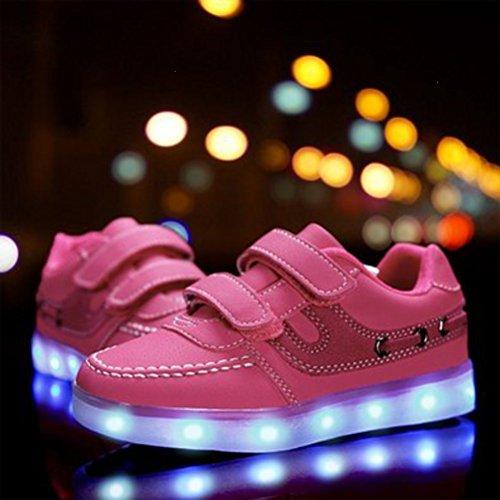 [+Pequeña toalla]De carga USB zapatos de los niños chicos que emite luz zapatos zapatos de los zapatos luminosos LED iluminados deportiva c40