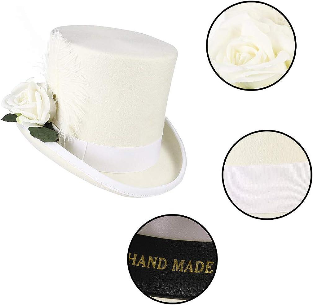 EOZY Chapeau Haut de Forme Blanc Femmes Chapeau Trilby Fedora avec Fleur Plume Chapeau en Feutre Adulte Mariage Voyage C/ér/émonie Soir/ée Hauteur 17CM