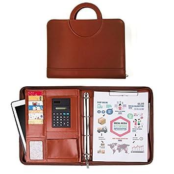 Carpeta Maletín con Bloc de Notas A4, Calculadora, Organizador Carpeta Maletín Cuero de PU
