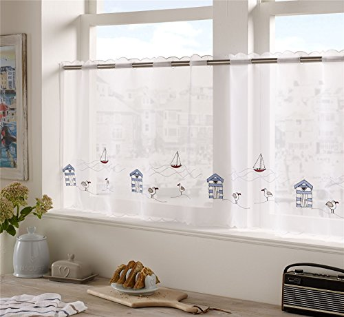 BLUE RED BEACH HUTS SEAGULLS EMBROIDERED KITCHEN CAFE CURTAIN DRAPE - Huts Seaside