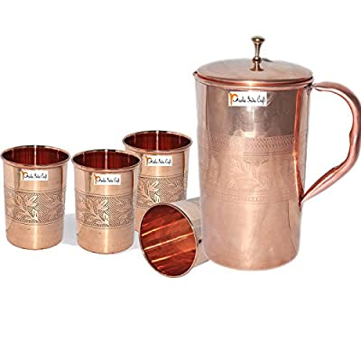 Prisha India Craft ® Best Quality Pure Copper Jug ( Handmade Jug 1600 ML / 54.10 oz ) with Four Glass Drinkware Set of Jug and Glass - Copper Jug Glass Set - Tumbler Set - Christmas Gift