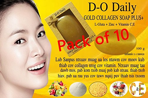 Pack of 10 Bars D-O Daily Whitening Pure Skincare Facial Gold Collagen Vitamin Soap Plus by kwantasmile by kwantasmile (Image #5)